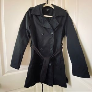 2/$30 Black Belted Cotton Trench Coat